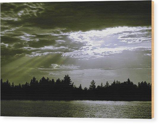 Light Blast In Evening Wood Print