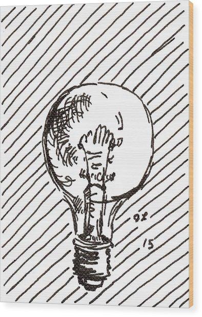 Light Bulb 1 2015 - Aceo Wood Print