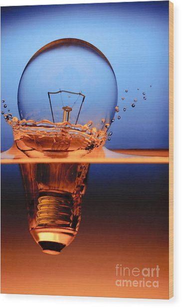 Light Bulb And Splash Water Wood Print