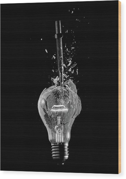Light Bulb Wood Print