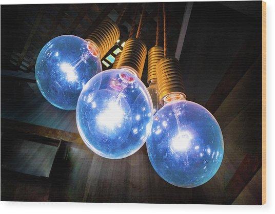 Light Bulbs Wood Print