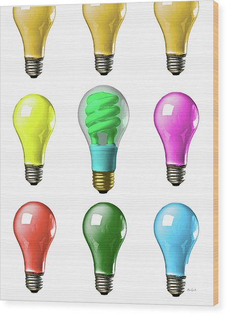 Light Bulbs Of A Different Color Wood Print