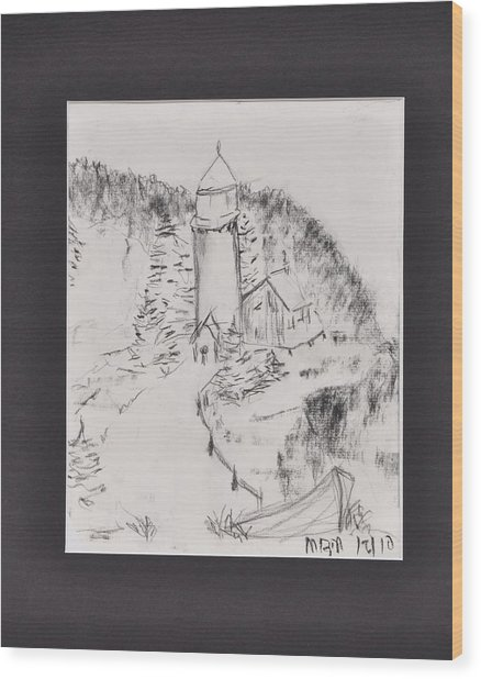 Light House Wood Print by MaryBeth Minton