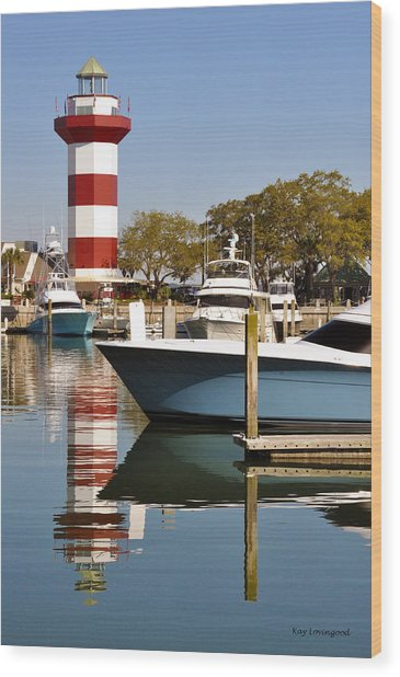 Light In The Harbor Wood Print