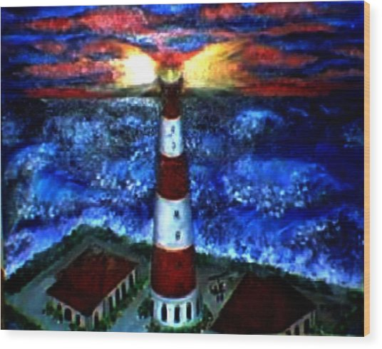 Light In The Storm Wood Print by Tanna Lee M Wells
