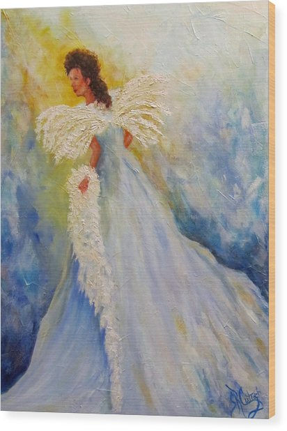 Light Of Grace,angel Wood Print