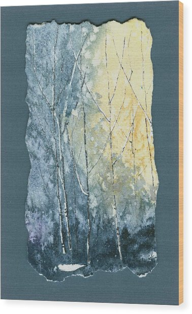 Light On Bare Trees 1 Wood Print
