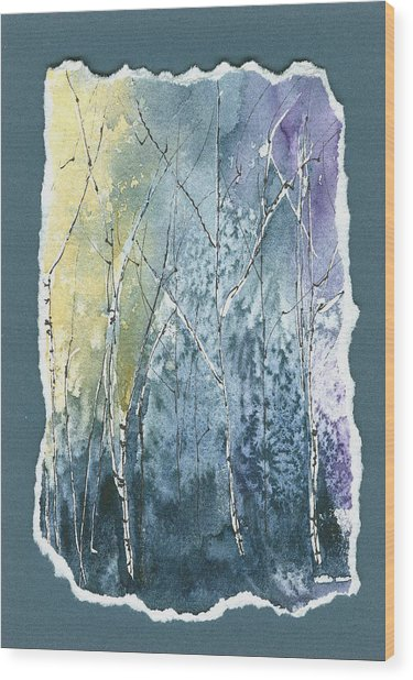 Light On Bare Trees 2 Wood Print