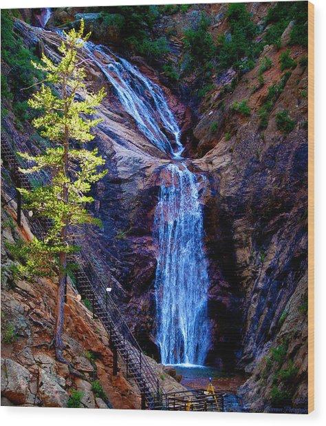 Light On Seven Falls Wood Print