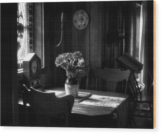 Light On Table Wood Print