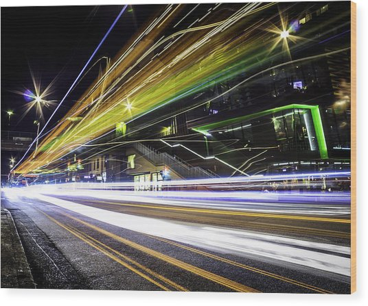 Light Trails 1 Wood Print