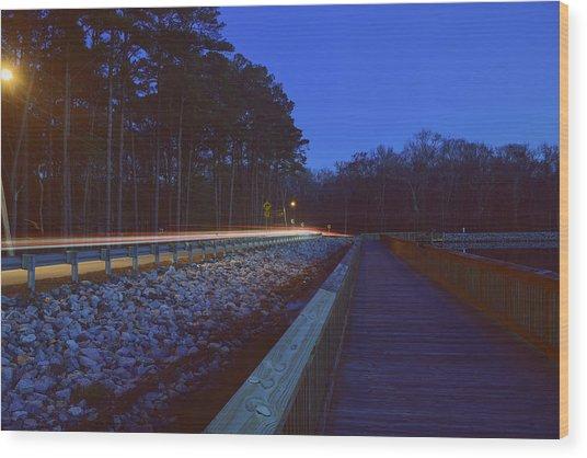 Light Trails On Elbow Road Wood Print
