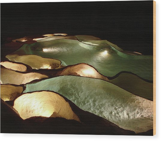 Wood Print featuring the photograph Light Up The Dark - Lit Natural Rock Water Basins In Underground Cave by Menega Sabidussi