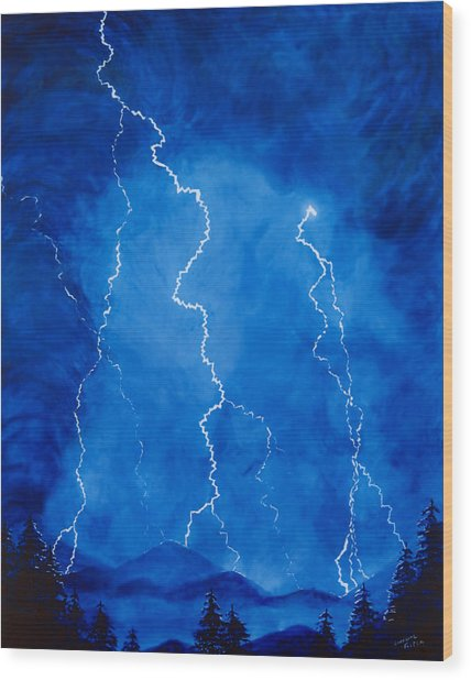 Lightening Storm In The Mountains Wood Print by Lorraine Foster