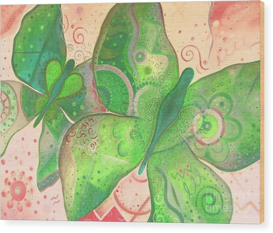 Lighthearted In Green On Red Wood Print