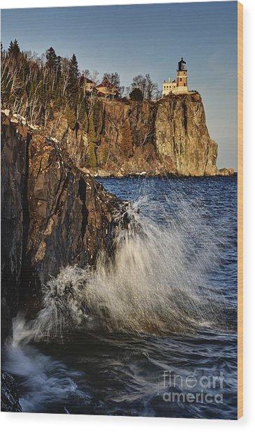 Lighthouse And Spray Wood Print