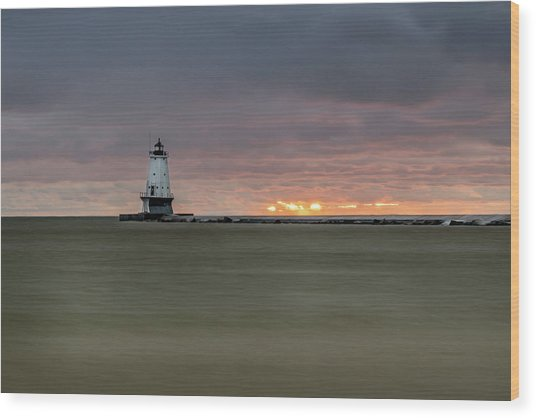 Lighthouse And Sunset Wood Print