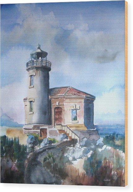 Lighthouse At Bandon Wood Print