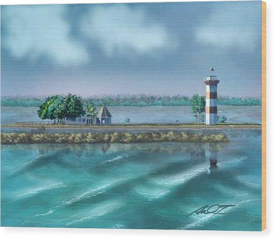 Lighthouse At Lake Conroe Wood Print