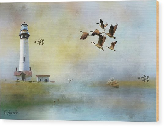 Lighthouse Bay Wood Print