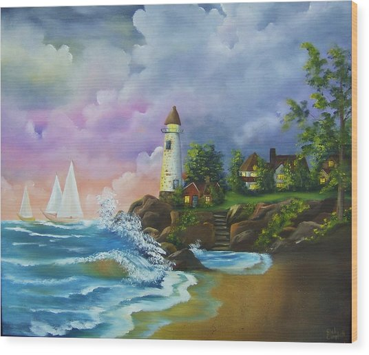 Lighthouse By The Village Wood Print