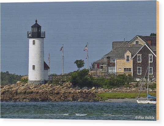 Lighthouse In The Ipswich Bay Wood Print