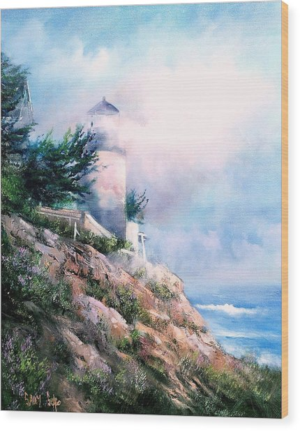 Lighthouse In The Mist Wood Print by Sally Seago