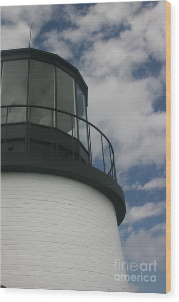 Lighthouse In The Sky Wood Print by Dennis Curry
