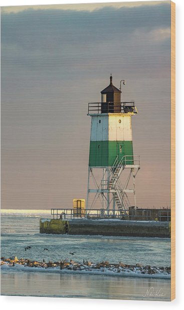 Lighthouse In The Sunset Wood Print
