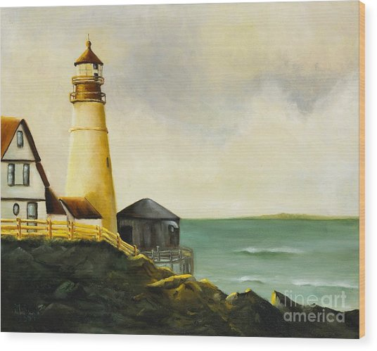 Lighthouse In Oil Wood Print
