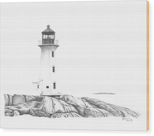 Lighthouse Of Peggy's Cove Wood Print