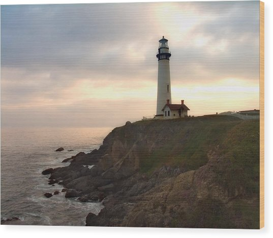 Lighthouse On The Cliff  Pigeon Point  California Wood Print by George Oze