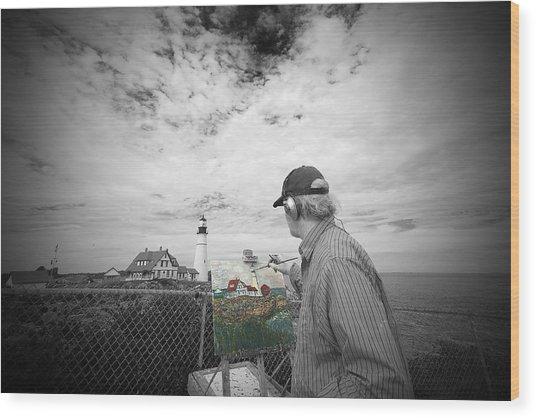 Lighthouse Painter Wood Print