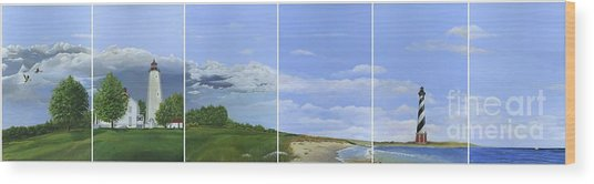 Lighthouse Panels Wood Print