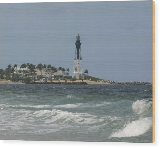 Lighthouse Point Fl. Wood Print by Dennis Curry