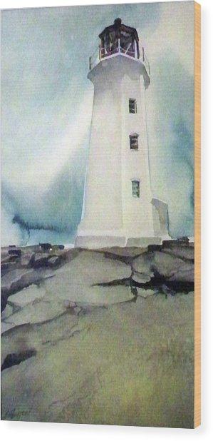 Lighthouse Rock Wood Print