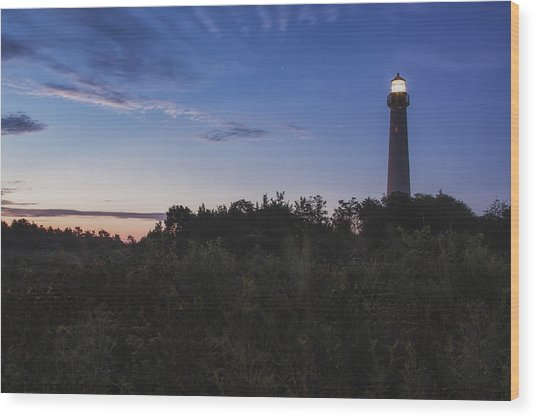 Lighthouse Summer Sunrise Wood Print