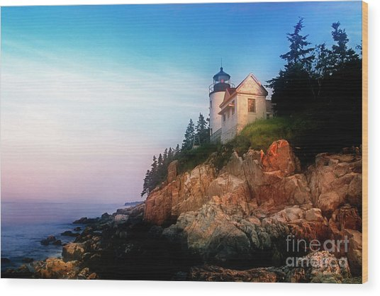 Lighthouse Sunrise Wood Print