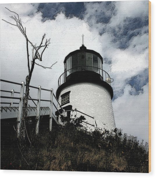 Lighthouse With Twist Wood Print by Dennis Curry