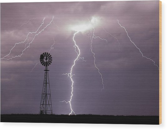 Lightning And Windmill -02 Wood Print