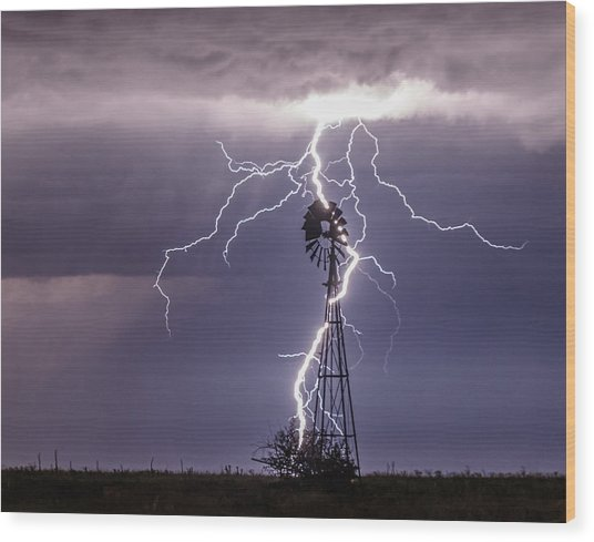 Lightning And Windmill Wood Print