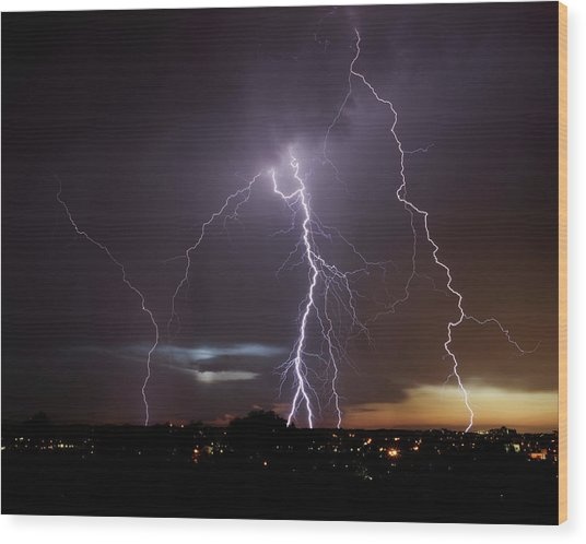 Lightning At Dusk Wood Print