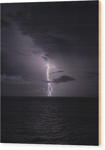 Wood Print featuring the photograph Lightning At Sea I by William Dickman