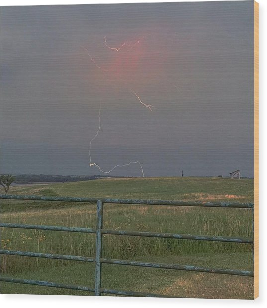 Lightning Bolt On A Scenic Route Wood Print