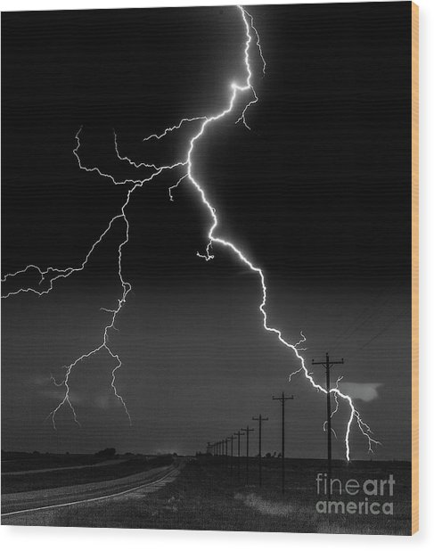 Lightning Bolt Wood Print
