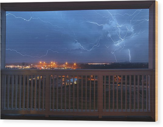 Lightning From The Balcony Wood Print