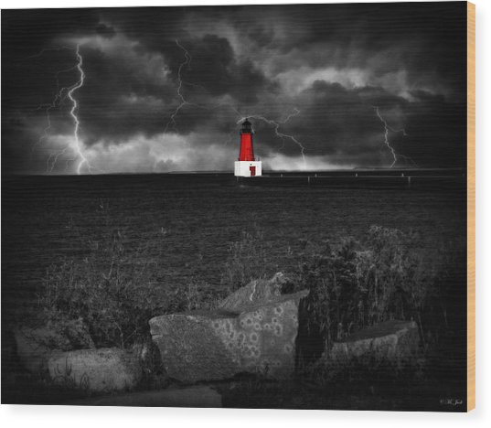 Lightning House Wood Print