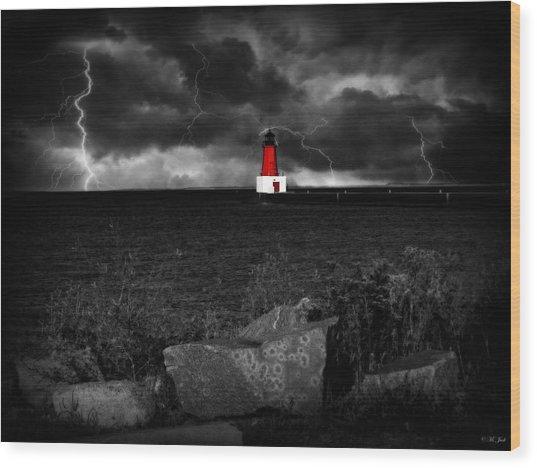 Lightning House Wood Print