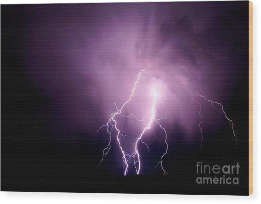 Lightning In The Desert Wood Print