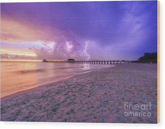 Lightning Naples Pier Wood Print